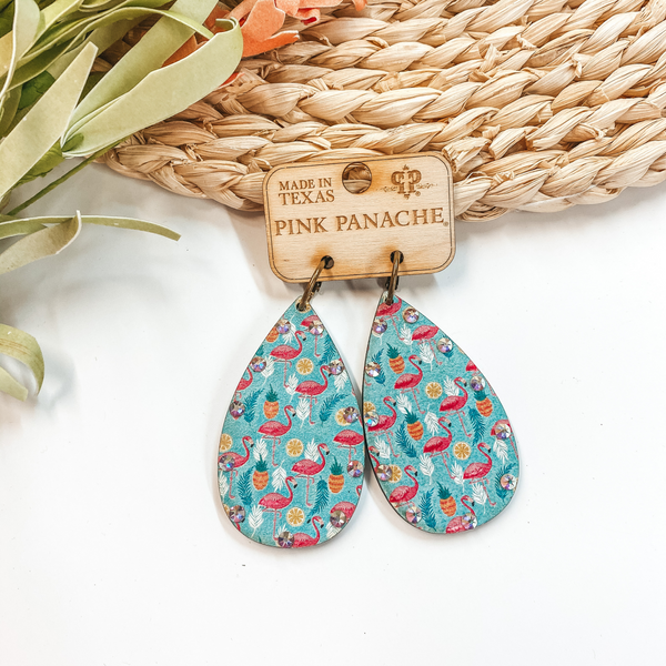 Pink Panache | Wooden Teardrop Earrings With Flamingo's, Fruits, and AB Crystals in Turquoise
