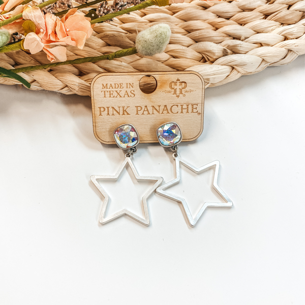 Pink Panache | Silver Star Earring on Bronze AB Cushion Cut Crystal
