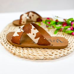 Searching For Sunshine Cross Strap Faux Hide Sandals in Brown Cow
