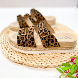 Traveling Places Strappy Faux Hide Platform Sandals with Buckles in Leopard