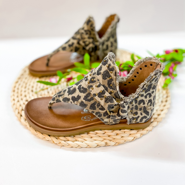 Life is a Journey Canvas Sandal with Studded Detailing in Leopard