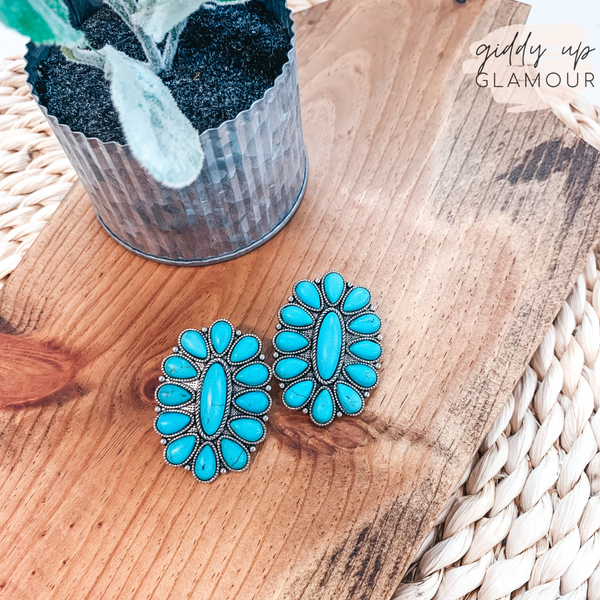 Oval Cluster Earrings in Turquoise