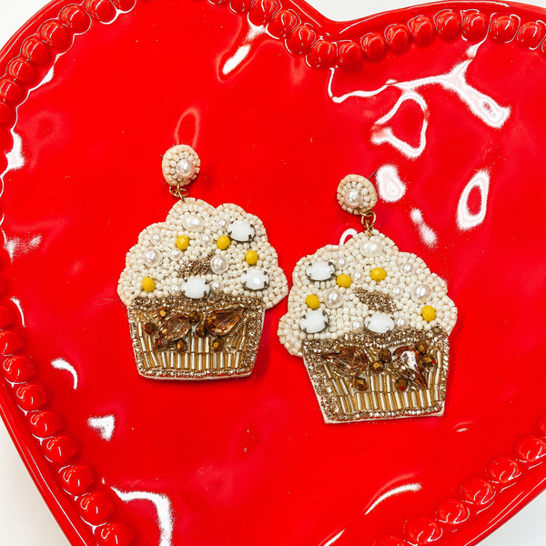 Sweet Tooth Beaded Cupcake Earrings  with Crystals in Ivory