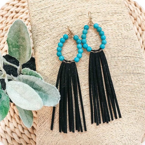 Turquoise Beaded Hoop Earrings with Black Tassels