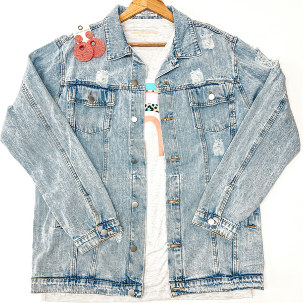 Plus Sizes | On The Road Distressed Button Up Denim Jacket in Light Wash