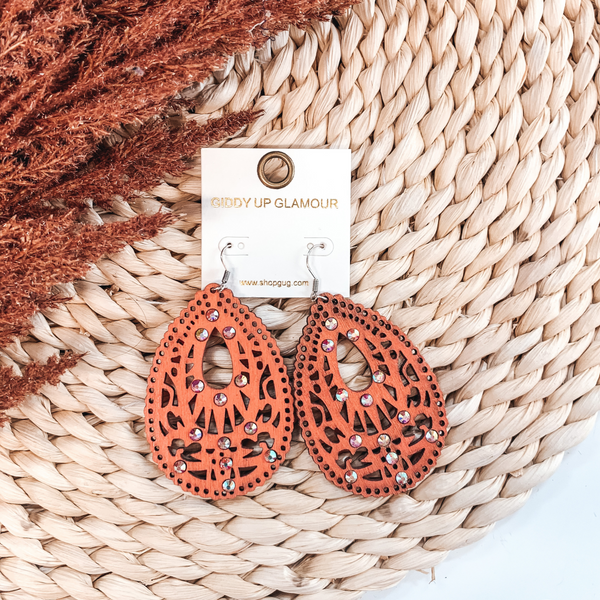 Scalloped Wooden Teardrop Earrings with Cut Outs and AB Crystals in Coral