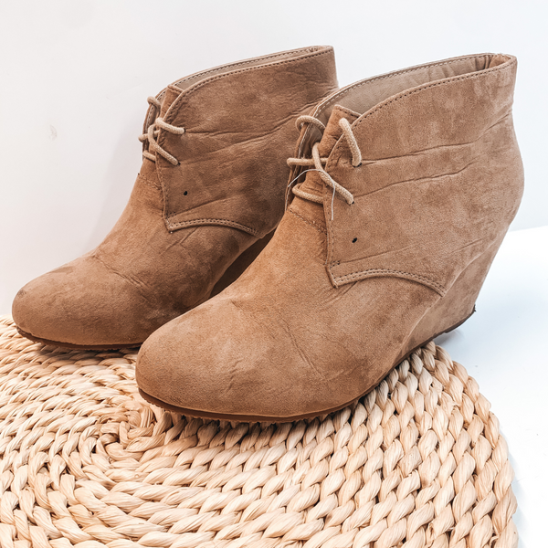 Modeled Shoes | Lace Up Wedge Bootie in Taupe - Size 10