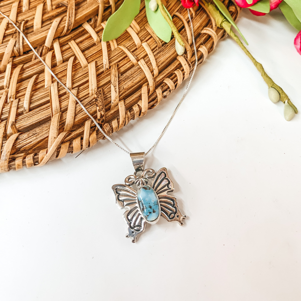 Jane Delgarito | Navajo Handmade Genuine Sterling Silver and Golden Hills Turquoise Butterfly Pendant Necklace
