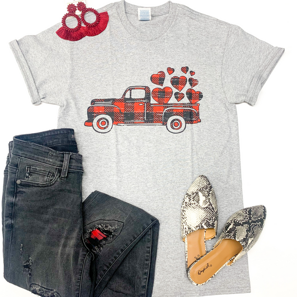 Youth | Take My Love For A Ride Buffalo Plaid Pickup Truck with Hearts Graphic Tee in Grey