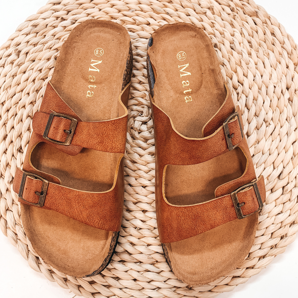 Seconds | Summer Love Double Buckle Slide On Sandals in Cognac - Size 8.5