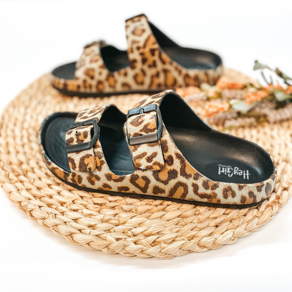 Corky's | Waterslide Two Strap Slide On Rubber Sandals in Leopard