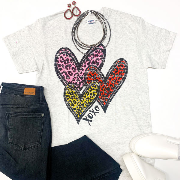 Wild Hearts Leopard Multi Graphic Tee in Heather Grey