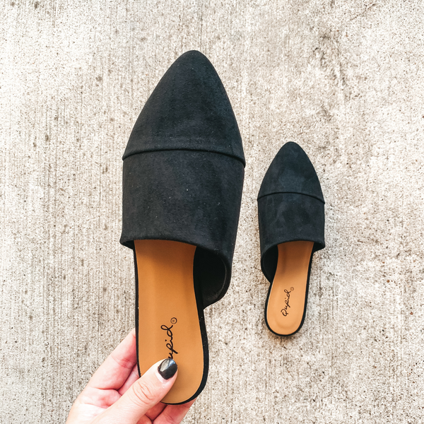Charming Touch Slide On Mule Flats in Black Suede