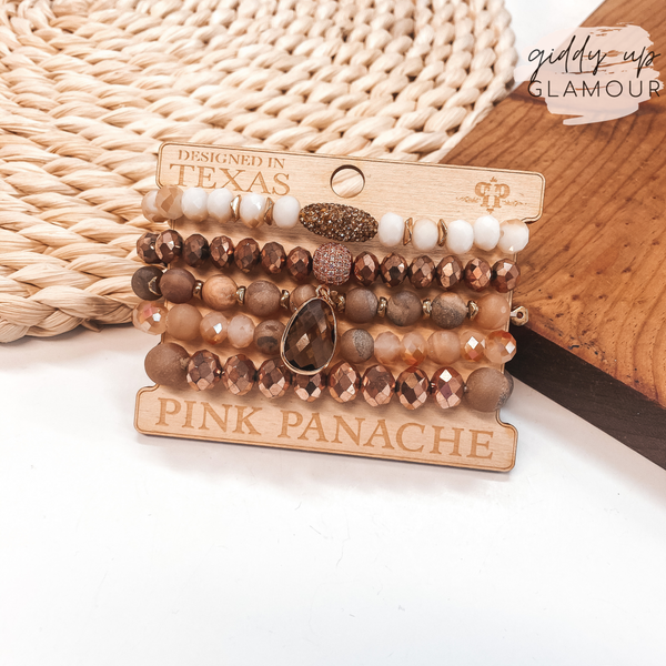 Pink Panache | Crystal Beaded Bracelet Set in Rose Gold