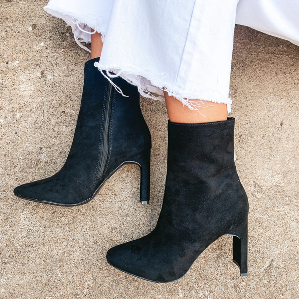 Lovestruck Heel Bootie in Black Suede