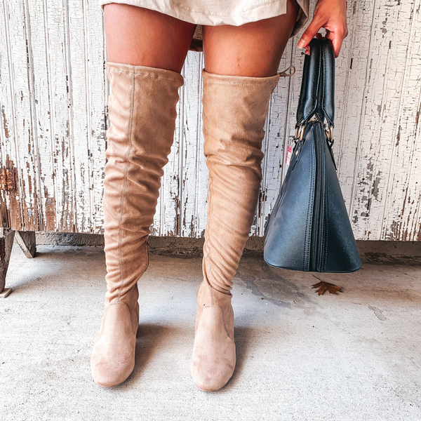 Vixen Thigh high Suede Boot in Warm Taupe Suede