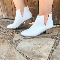 District Ankle Slit Heeled Booties in White