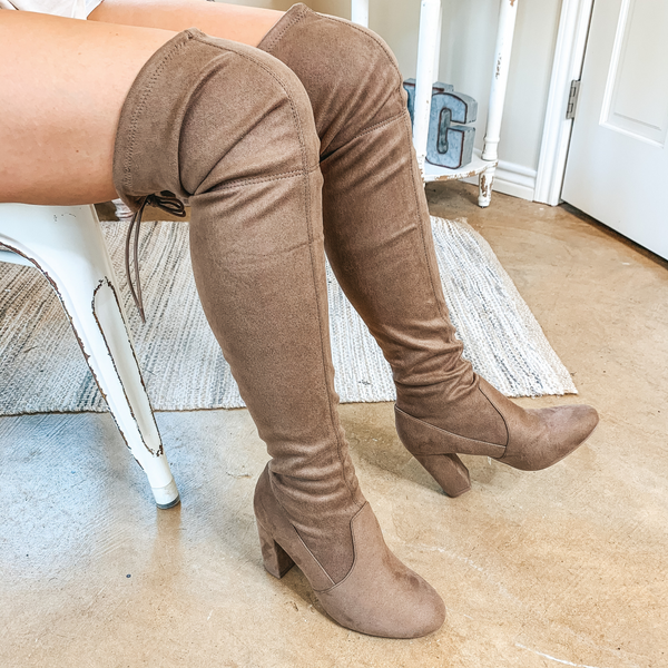 Saints Faux Suede Thigh High Boots in Camel