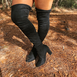Saints Faux Suede Thigh High Boots in Black