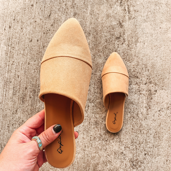 Charming Touch Slide On Mule Flats in Toffee Suede