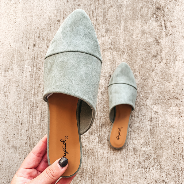 Charming Touch Slide On Mule Flats in Khaki Suede