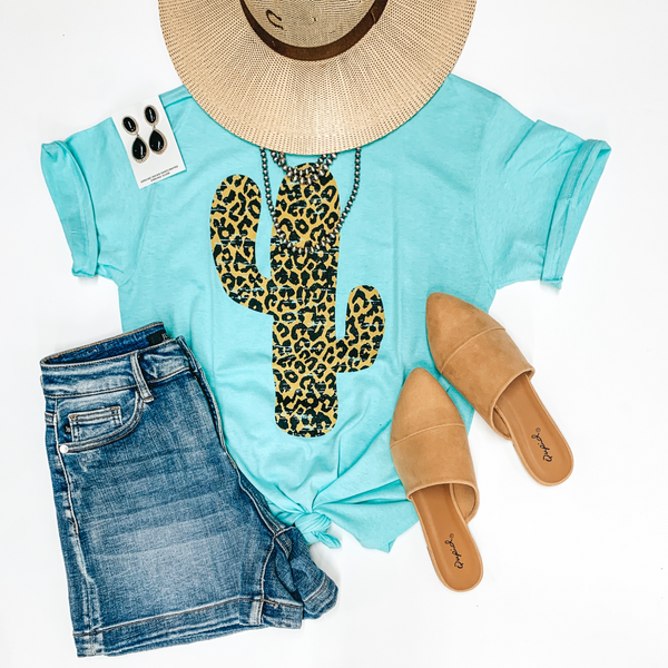 Steady as the Saguaros Leopard Cactus Short Sleeve Graphic Tee in Mint