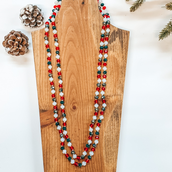 60 Inch Long 8mm Layering Crystal Strand Necklace in Red, White and Green