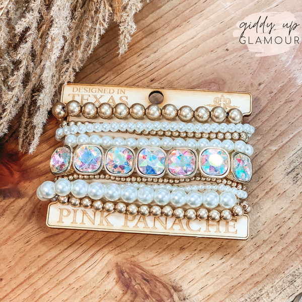 Pink Panache | Gold and Pearl Mix Bracelet Set in AB