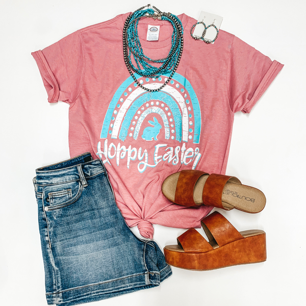 Hoppy Easter Rainbow Short Sleeve Graphic Tee in Mauve Pink