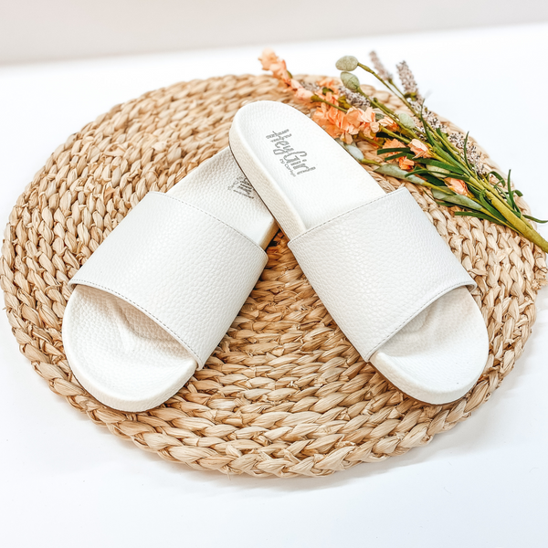 Corky's | Backyard Leather Slide On Sandals in White