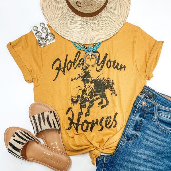 Hold Your Horses Bucking Horse Short Sleeve Graphic Tee in Mustard Yellow