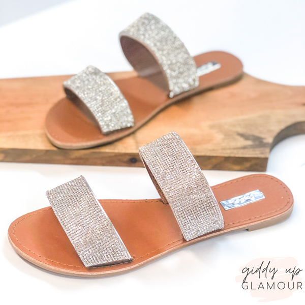 Throwing Sparkle Two Strap Crystal Embellished Sandals in Silver