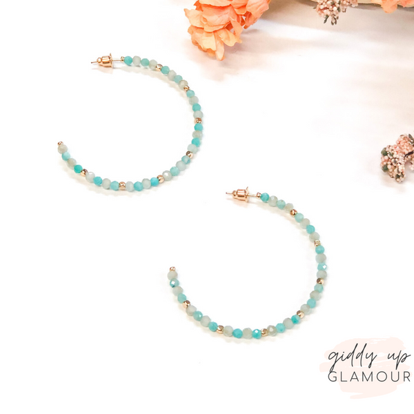Crystal Beaded Hoop Earrings with Gold Spacers in Mint