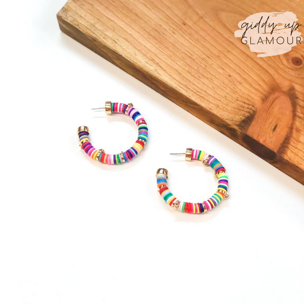 Stars Aligned Disk Bead Hoop Earrings with Gold Stars in Multi