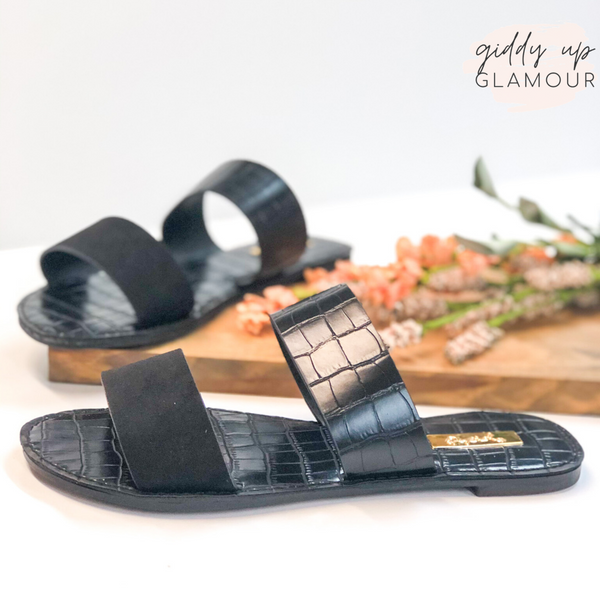 Summertime Chic Two Strap Sandals in Black Croc