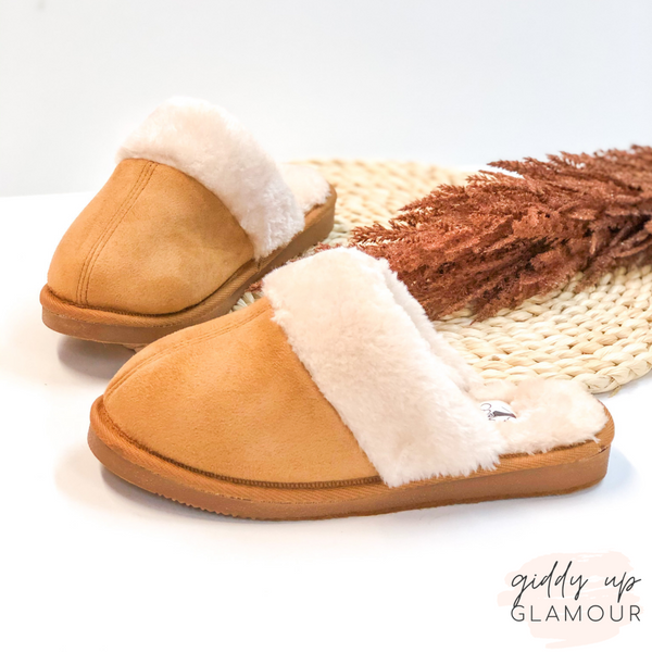 Corky's | Hitting Snooze Slide On Slippers with Furry Lining in Chestnut