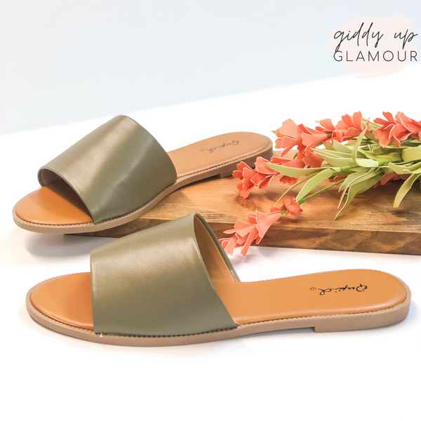 Beach Babe Slide On Sandals in Khaki