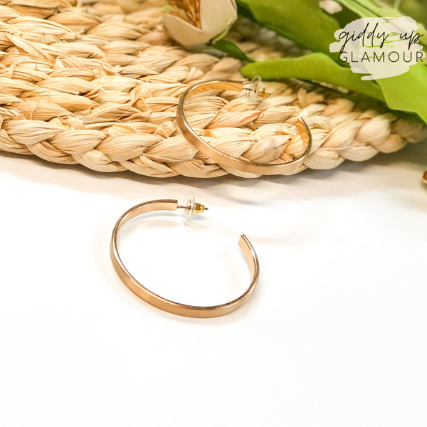 Flat Hoop Earrings in Matte Gold
