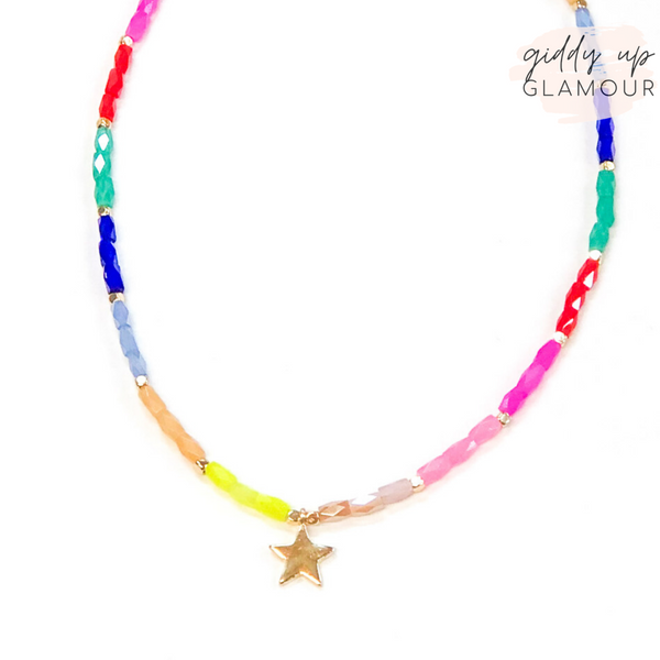 A Star Attitude Gold Star Pendant Choker Necklace in Multi
