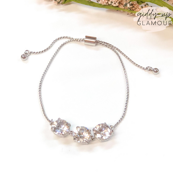 Three CZ Stone Bracelet with Adjustable Chain in Silver