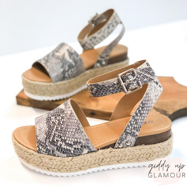 Power Strut Platform Espadrille Sandals in Snakeskin