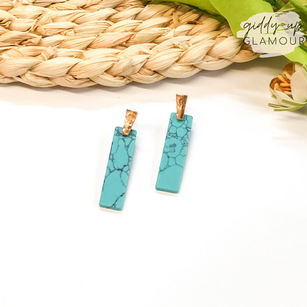 Gold Post Earrings with Rectangle Stone Drop in Veined Turquoise