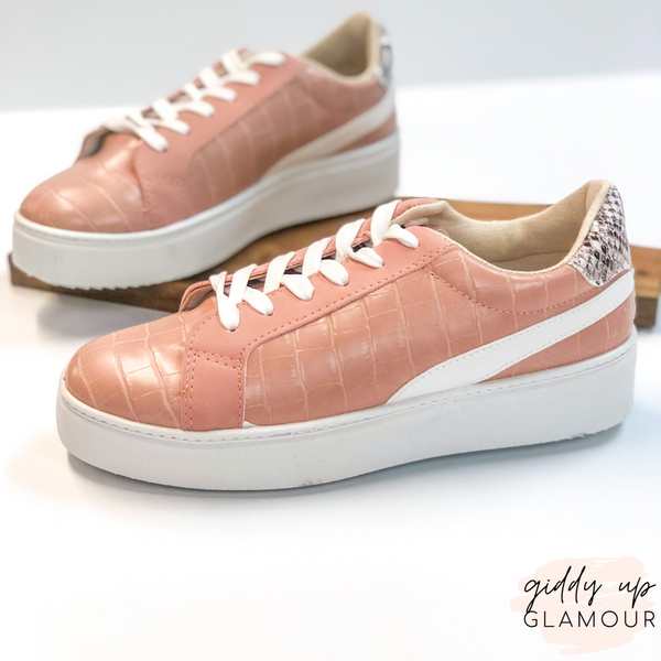 Can't Stay Away Crocodile Sneakers with Snakeskin Heel Patch in Blush Nude