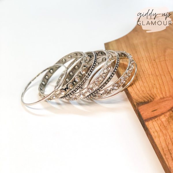 Set of Seven | Solid and Clear Crystal Bangles in Silver