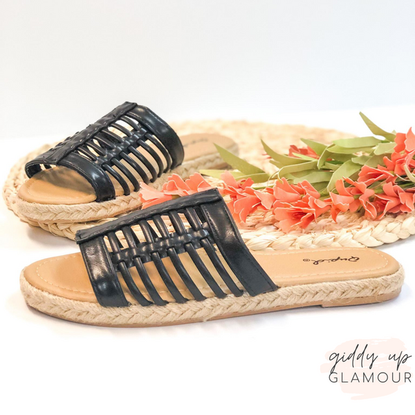 Caught In the Sun Slide On Espadrille Sandals in Black