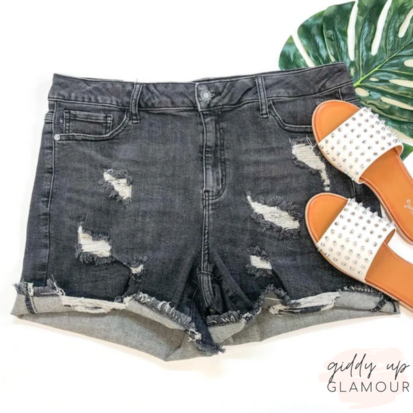 Plus Sizes | Judy Blue | Under The Spotlight Destroyed Denim Shorts in Grey Wash