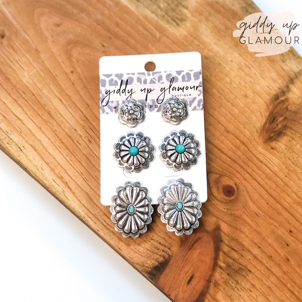 Set of Three | Concho Earring Set with Turquoise Stones in Silver