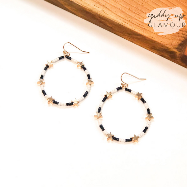 Written in the Stars Beaded Hoop Earrings with Gold Stars in Black and White
