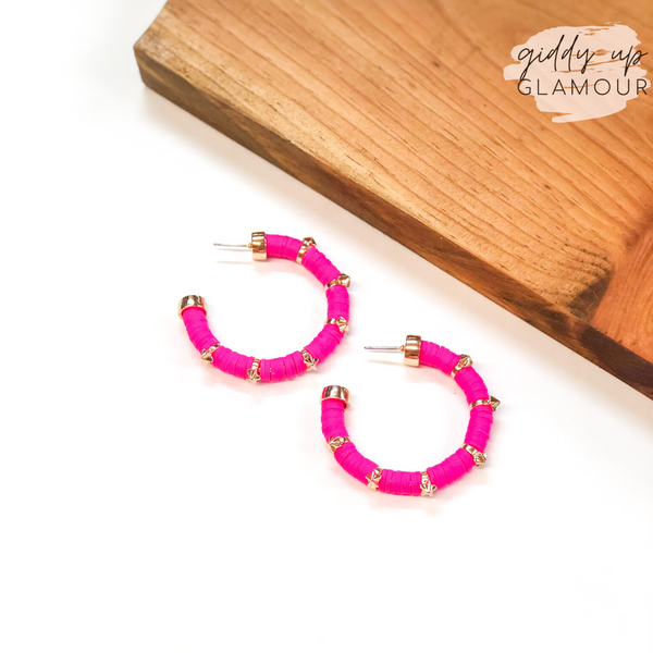 Stars Aligned Disk Bead Hoop Earrings with Gold Stars in Fuchsia
