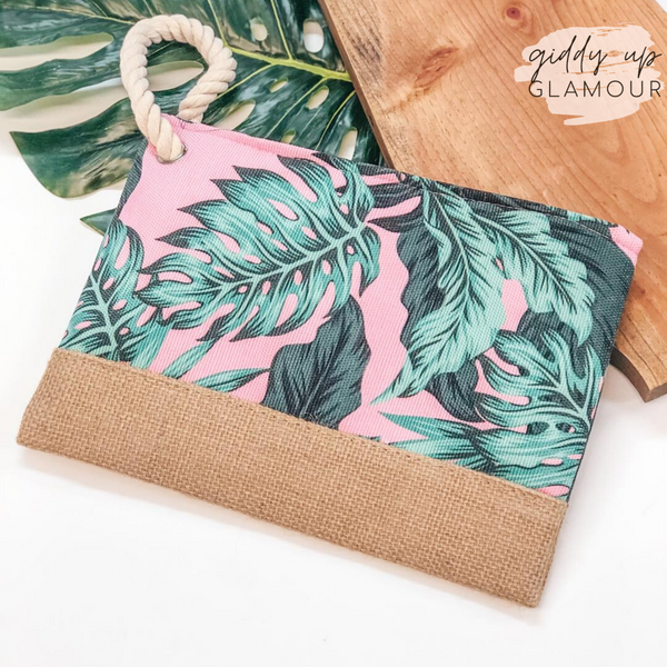 Green Palm Leaf Clutch with Burlap Detail in Pink